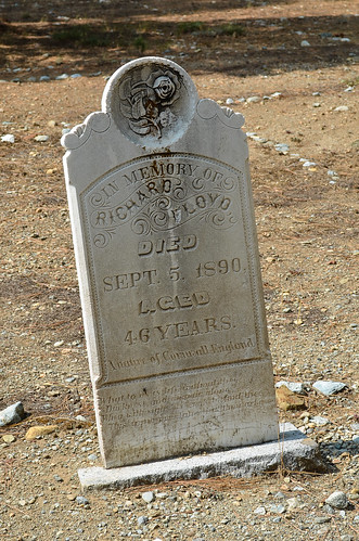 A miner's headstone from 1890.
