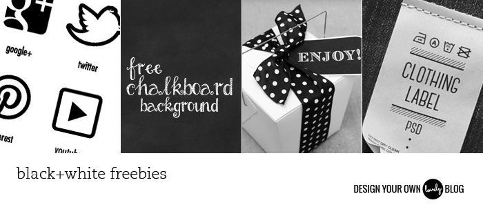 Black and white freebie downloads: social media icons, chalkboard texture, gift tags, label