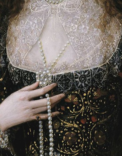Lady Anne Pope (detail), Robert Peake the Elder, 1615
