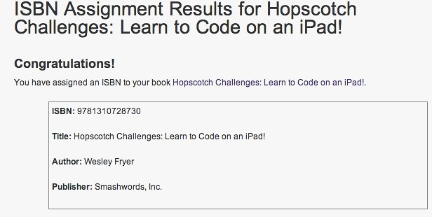 ISBN from Smashwords for Hopscotch Challenges