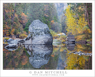 Merced River Boulder, Autumn