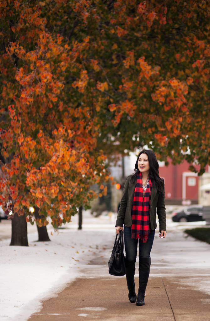 cute & little blog | olive wool blazer, buffalo plaid scarf, vince camuto bedina over the knee boots, statement necklace outfit
