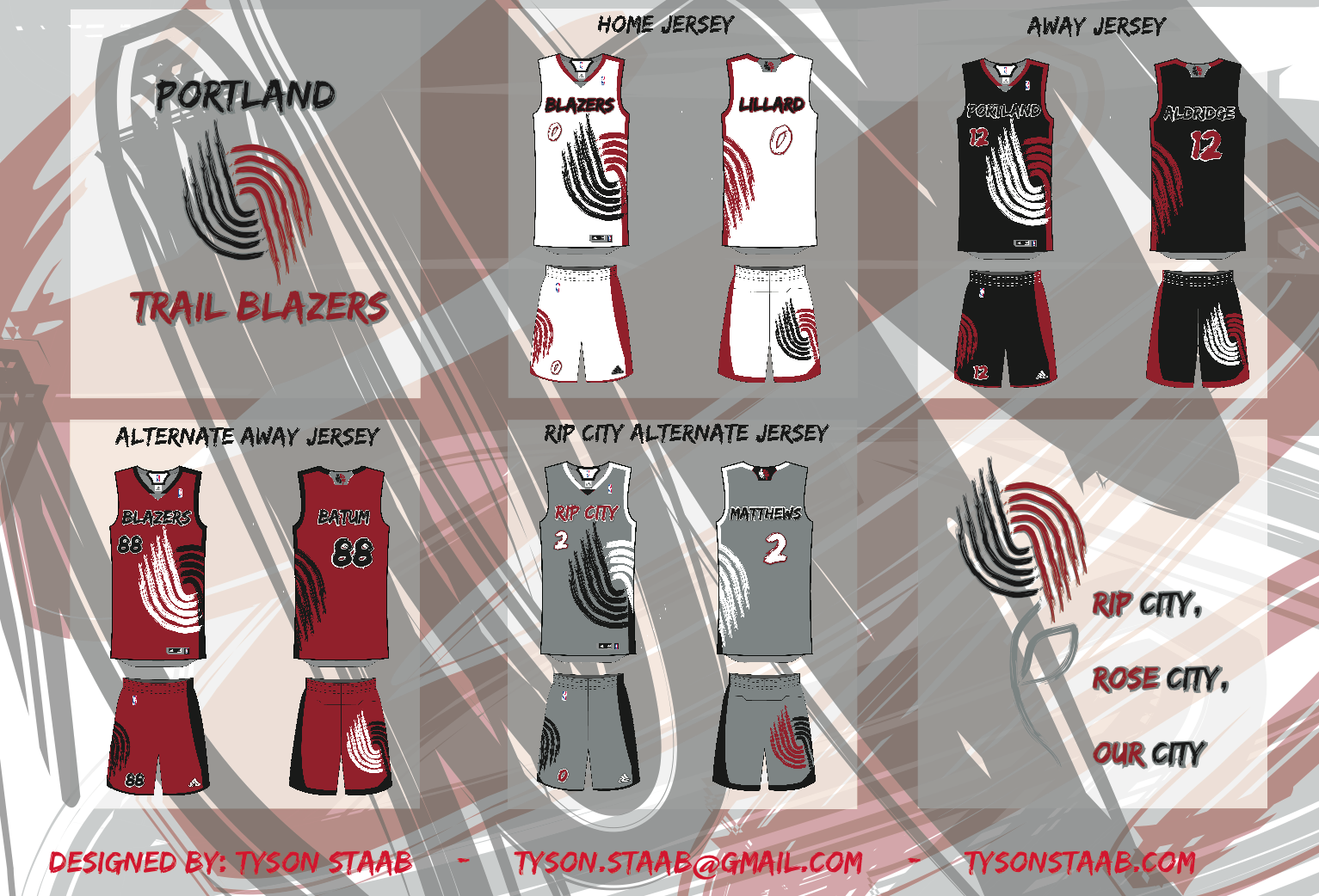 uni watch - portland trail blazers redesign ideas
