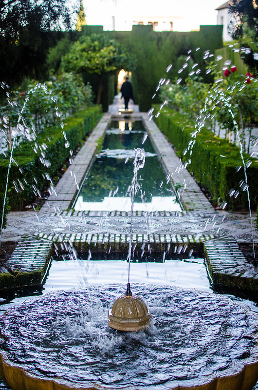A water feature in the lower Generalife Gardens at Granada's Alhambra Palace.