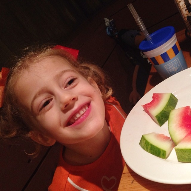 Someone is smilie this morning... And she just wanted watermelon for breakfast.