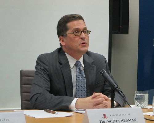 Senior analyst for Asia at the Eurasia Group, Dr. Scott Seaman, served as a discussant for Sean Connell's presentation on innovation and growth in US-Japan relations.