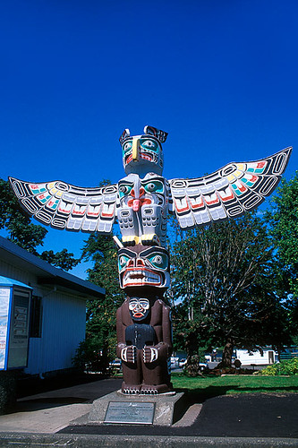 Totem Pole in Courtenay, Vancouver Island, British Columbia, Canada