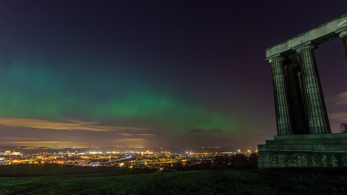 Northern Lights (Aurora Borealis) from Calton Hill. Edinburgh