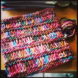 I love instant gratification projects! #dropstitchcowl is off the needles, with just a tiny bit of #yarn to spare! #Madelinetosh #JimmyBeansWool #TechnicolorDreamcoat #knitstagram #handknit #cowl #knitting #FO