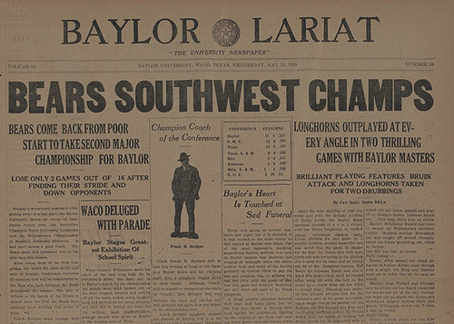 Baylor Bears, Southwest Champs, Baylor Lariat, May 23, 1923