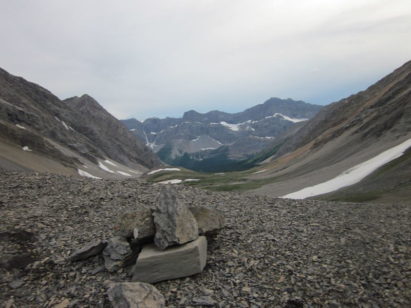 View from Badger Pass down-canyon toward Johnston Canyon and Pulsatilla Mountain