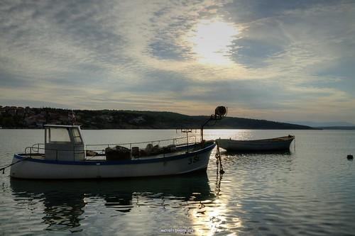 sunset sea sun canon island boat mare sundown dusk croatia silo more fishingboat hdr cro hrvatska krk jadranskomore šilo bonaca adriatcsea