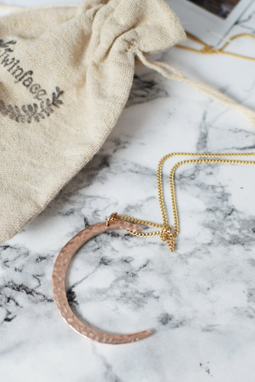 Twinface Rose Gold Hammered Moon Necklace