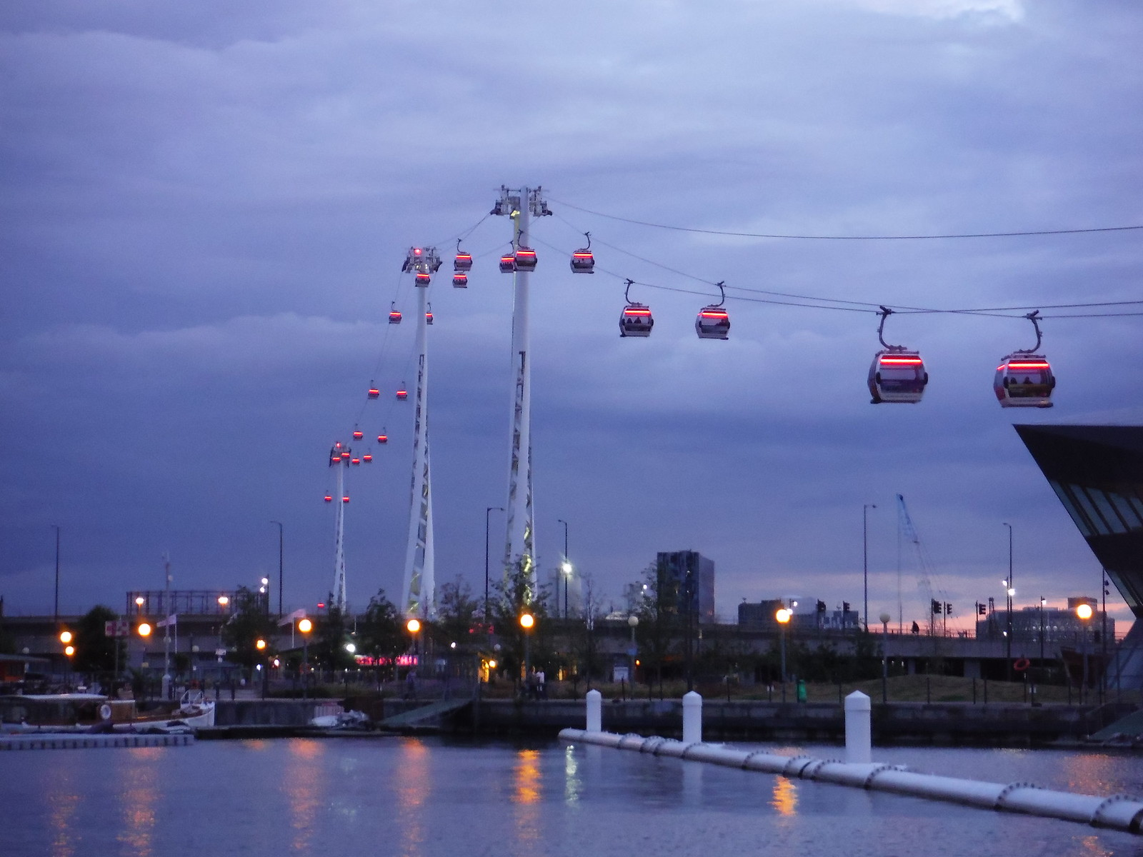 Emirates Air Line at dusk SWC Short Walk 21 - The Line Modern Art Walk (Stratford to North Greenwich)