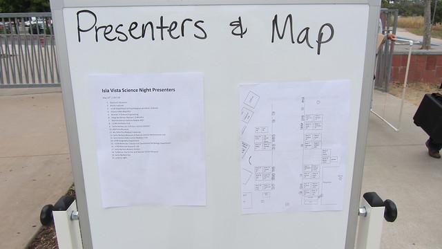 IMG_9224 Isla Vista School Science Night presenters list map