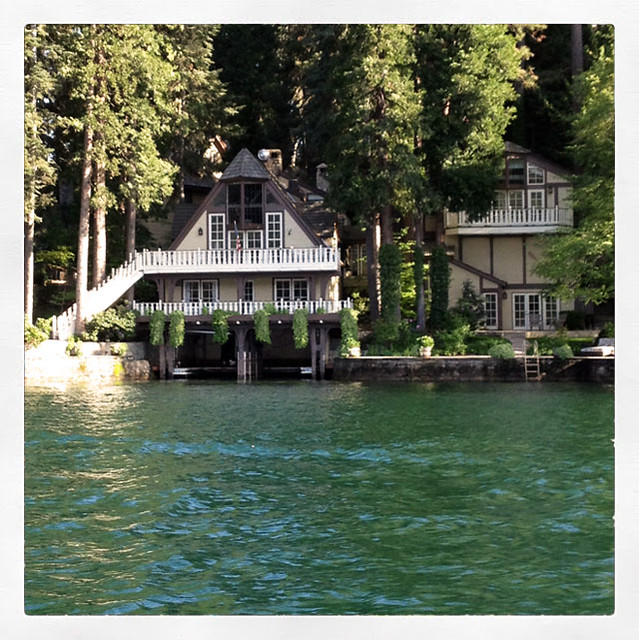 House on the lake water garage for boat for Boat garage on water