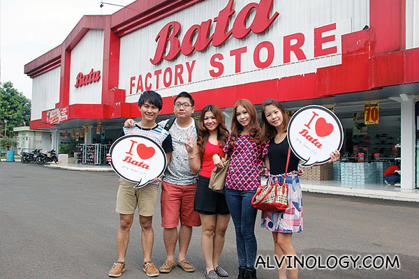 Me with my travel group, in front of the Bata Factory Store beside the factory itself