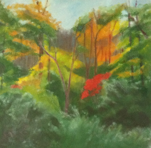 Red Leaves in the Woods (Oil Bar Painting as of June 5, 2013) by randubnick