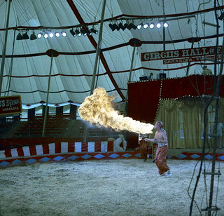 Fire breather Tagora rehearsing for Garry Moore's show at the Circus Hall of Fame: Sarasota, Florida
