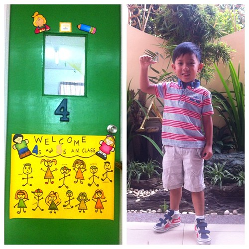 we have a kindergartener!! #ootd @gingersnapsph polo and shorts @feiyuephilippines sneaks :)