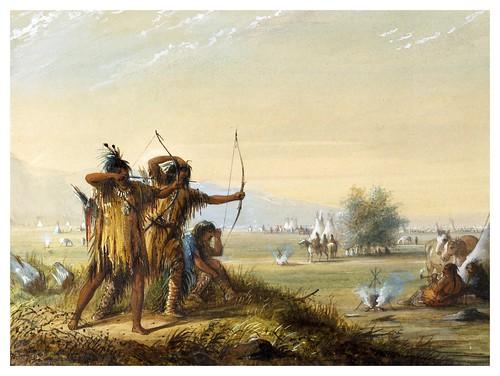 016-Indios Snakes disparando el arco-Alfred Jacob Miller-1858-1860-Walters Art Museum