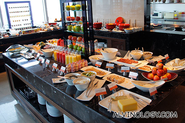 Fruits, cheeses, nuts, juices and such