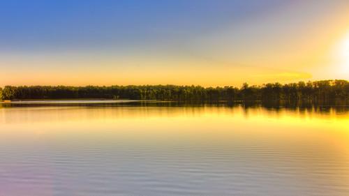 sunset lake water landscape unitedstates northcarolina gastonia rankinlakepark gastoncountypark