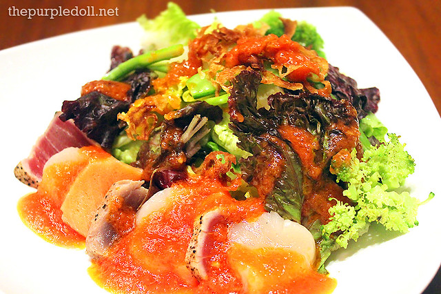 Mixed Sashimi Salad with Tomato Dressing (P520)