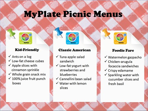 Kid-Friendly, Classic American and Foodie Fare MyPlate Picnic Menus