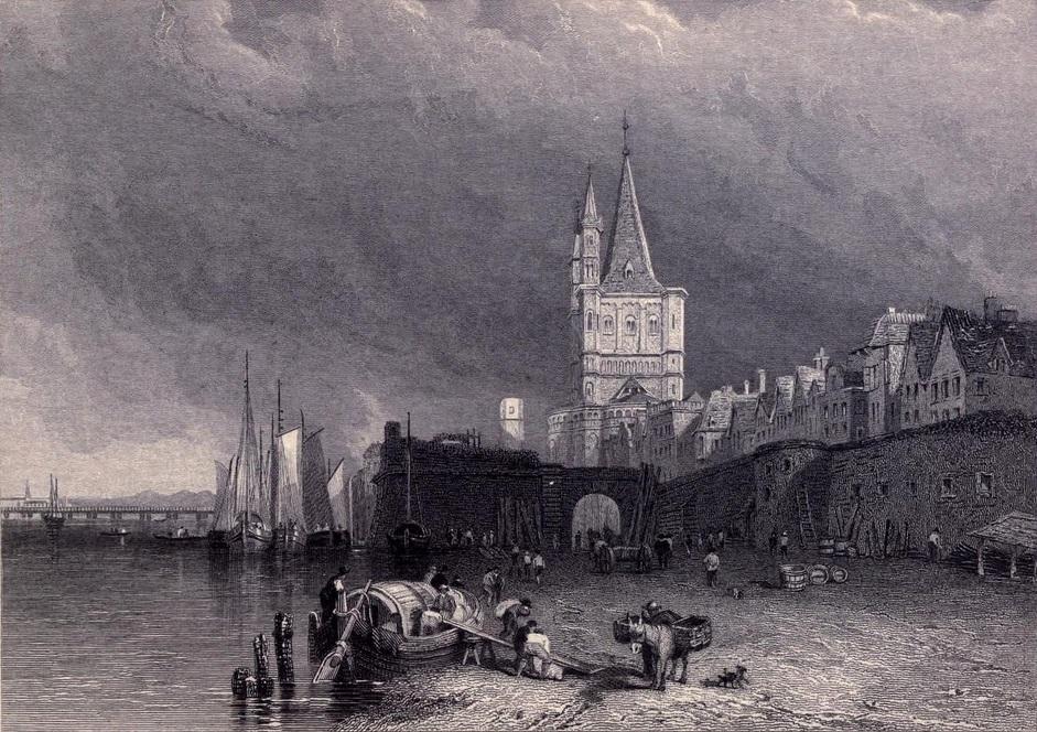 18. El Rin y la ciudad de Colonia. Boceto de Clarkson Stanfield. 1833. Autor, Ayacata7