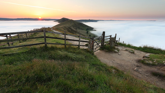 Cloud and temperature inversion on Mam Tor in the Derbyshire Peak District