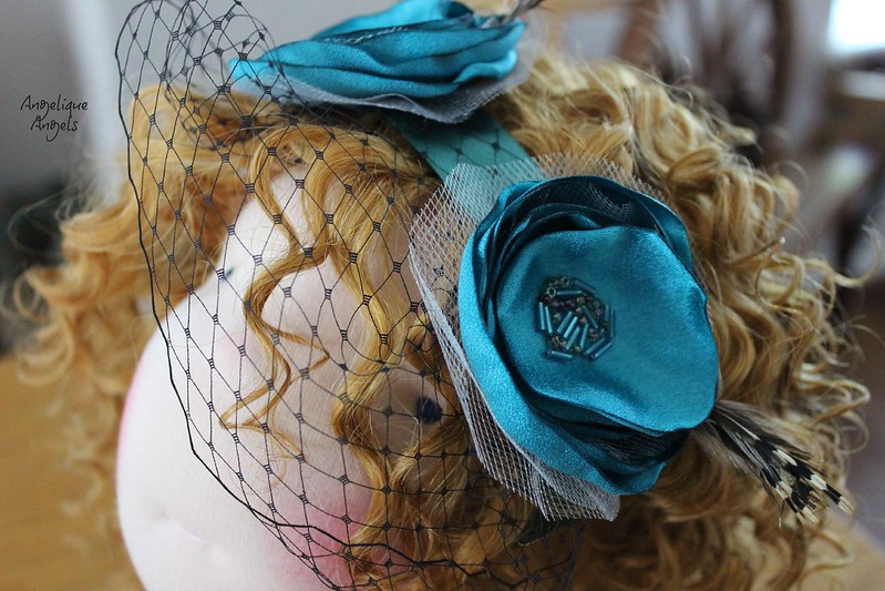 Teal Dolly-sized Fascinator