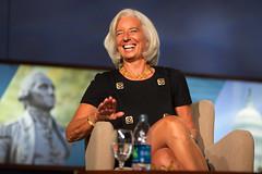 International Monetary Fund Managing Director Christine Lagarde speaks at George Washington University