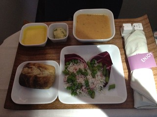 Soup and salad course on flight