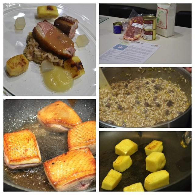 Magret de pato sobre arroz de mollejas y salsa de foie-gras, botones de manzana y canela
