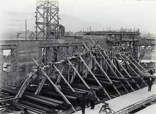 Byggingen av vognhallen på Dalsenget / Professor Brochs gate 6 (1922)