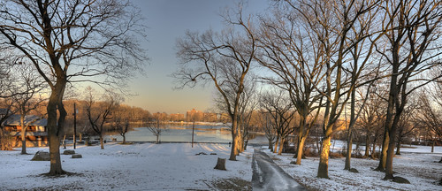 Path to Woodcliff Lake in winter
