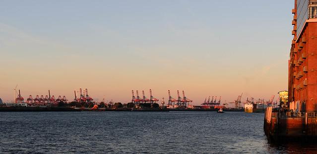 Hamburg Germany Shipyard warm light