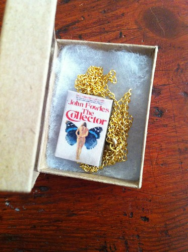 the collector necklace, miniture book, miniture necklace, john fowles necklace