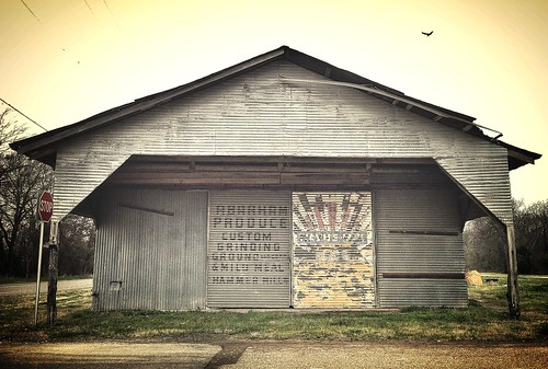 Ghost signs on a cold, rainy day in rural Texas -- including one of two Wayne Feeds ads painted on vacant shed