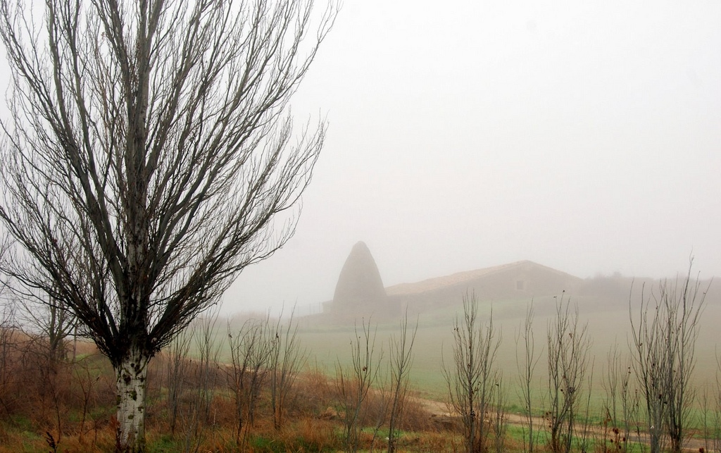 Paisaje navarro en la niebla. Autor, Rufino Lasaosa