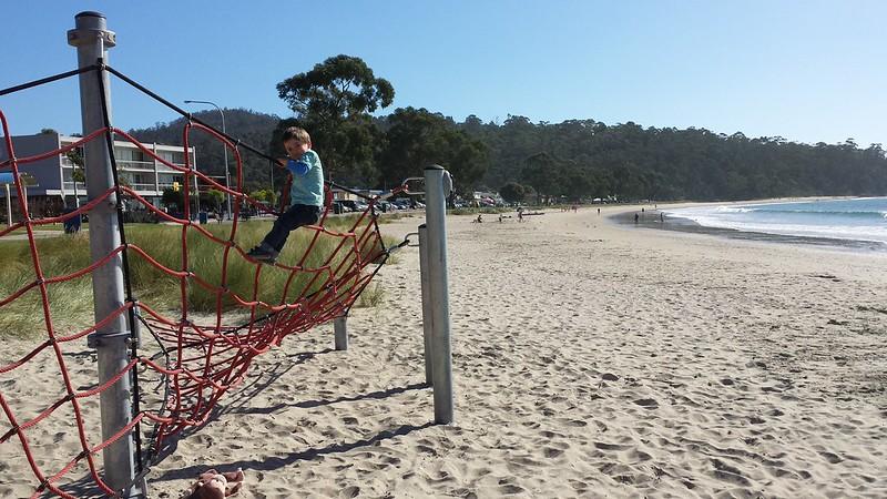 Climbing at the beach