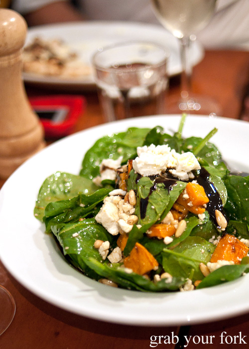 Baby spinach, roasted pumpkin and feta salad at Gigi Pizzeria, Newtown