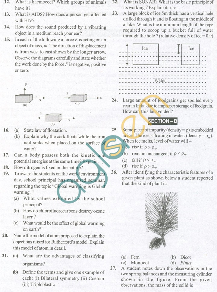CBSE Solved Sample Papers for Class 9 Science SA2 - Set C