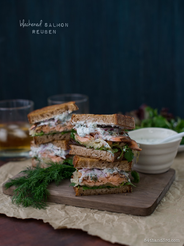 Blackened Salmon Reuben with Yoghurt Dill Sauce