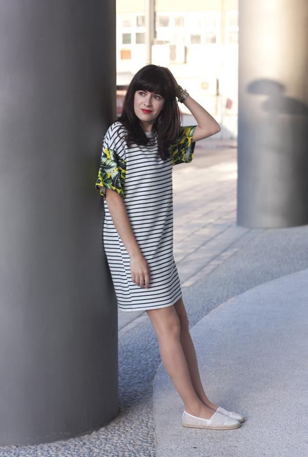 stripe dress, mesh espadrilles, בלוג אופנה, אספדריל, שמלת פסים