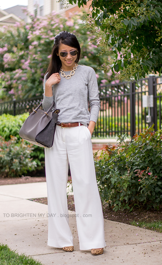 statement chain necklace, gray sweater, white pants, leopard pumps