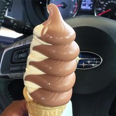 Chocolate vanilla soft serve swirl at #meadowlarkdairy