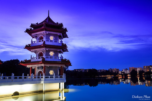 2016 2017 30 asia chinese december fall garden lakeside sg singapore blue creative exposure hour journey landscape long night pagoda photography sec second seconds tripod twin