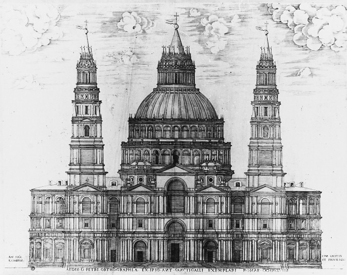 Initial design of Saint Peter`s Basilica proposed by Antonio da Sangallo the Younger
